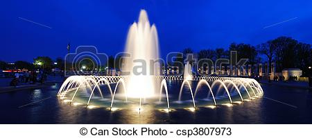 Stock Photos of World War II memorial fountain panorama.