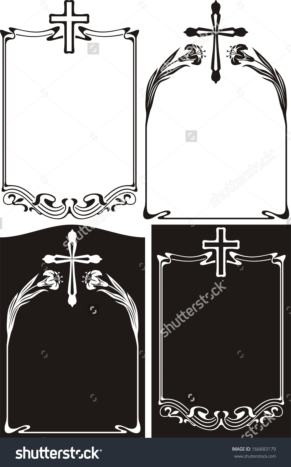 Obituary Memorial Plaque Art Deco Frames Stock Vector 166683179.
