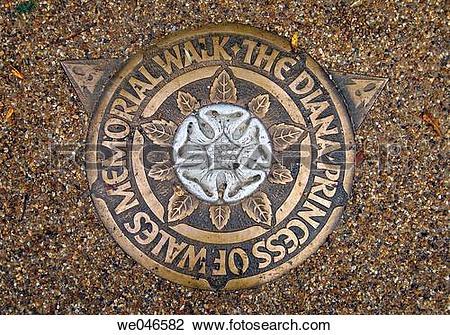 Stock Photo of Diana Princess of Wales Memorial walk sign at Hyde.