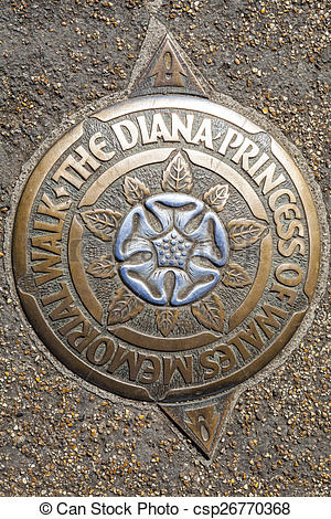 Stock Image of A Plaque for the Diana Princess of Wales Memorial.