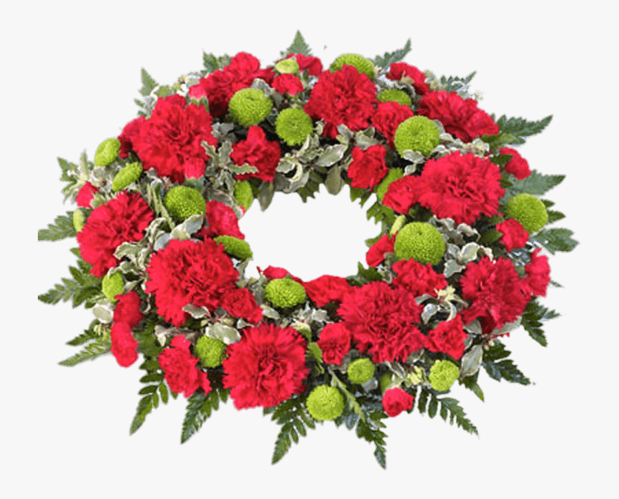 Red And Green Funeral Wreath.