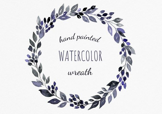 Funeral watercolor cliparts. Black and violet wreath clipart.