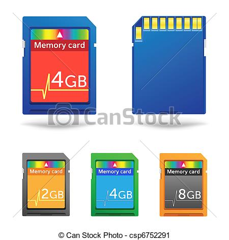 Vector Clip Art of Memory card.