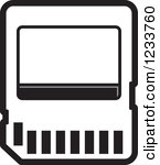 Clipart Of A Red Sd Memory Card.