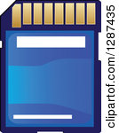 Clipart Of A Blue Memory Sd Camera Card.