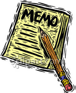 Note That Says Memo and a Pencil.