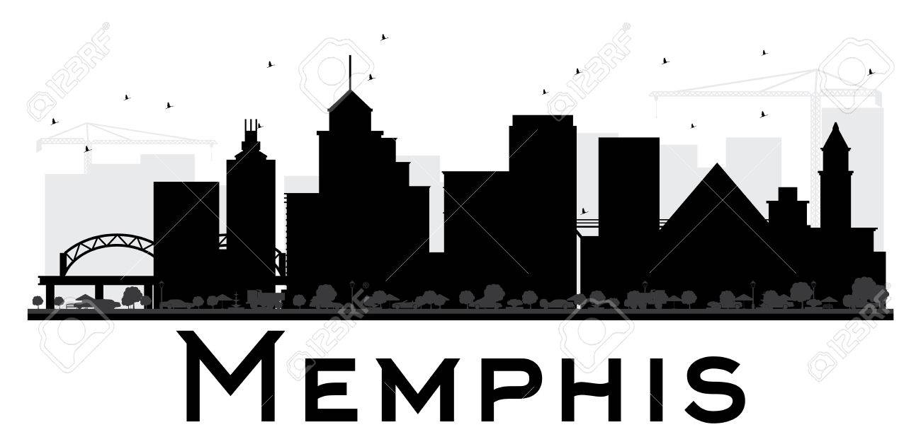 Memphis City skyline black and white silhouette. Vector illustration.