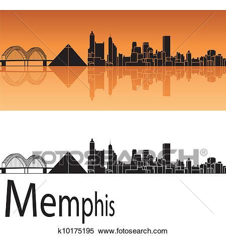 Memphis skyline Clipart.