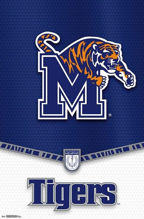 University of Memphis Tigers Official NCAA Team Logo Poster.