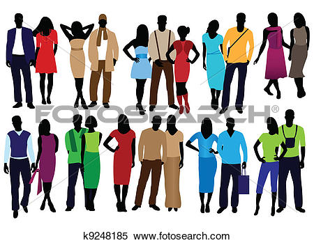 Clipart of men and women fashion k9248185.