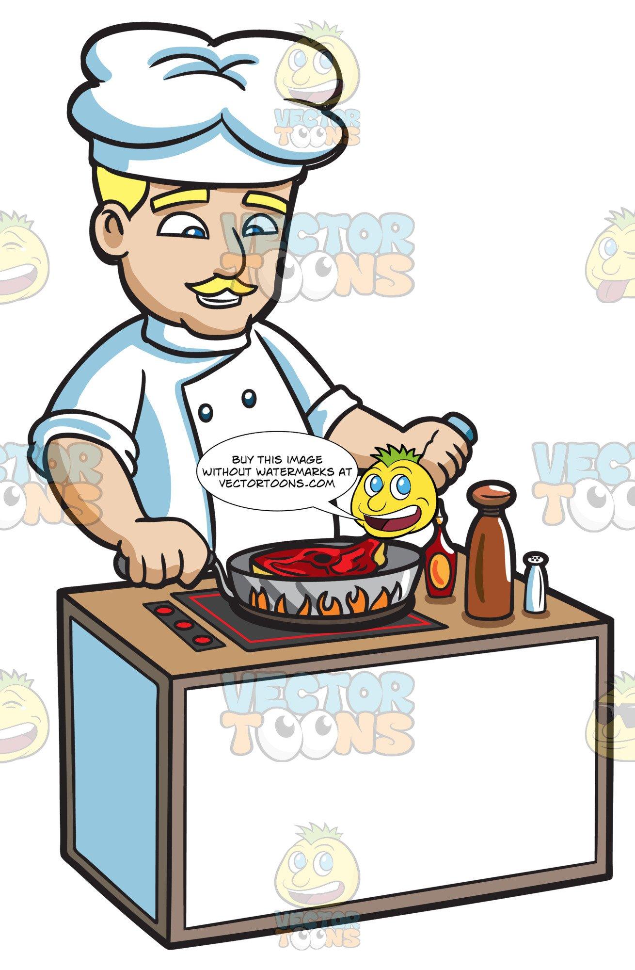A Chef Cooking A Steak.
