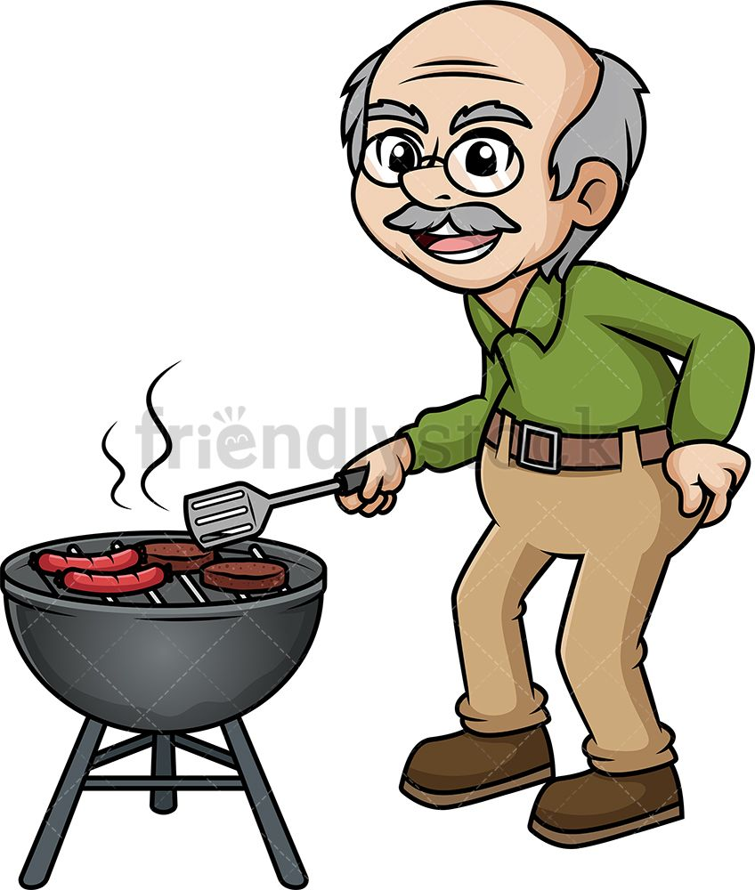 Old Man Barbecuing.