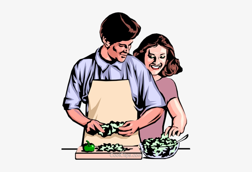 Man & Woman Preparing Dinner Royalty Free Vector Clip.