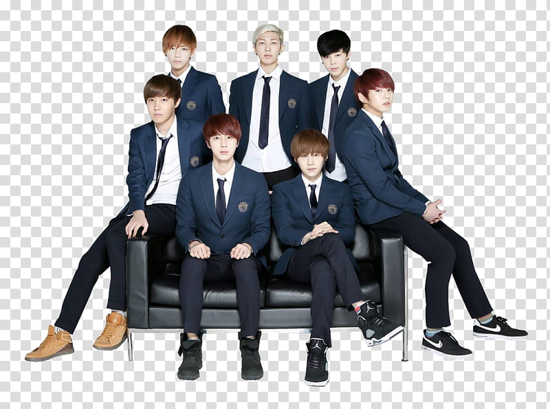 BTS s, group of men in black suit sitting on leather sofa.