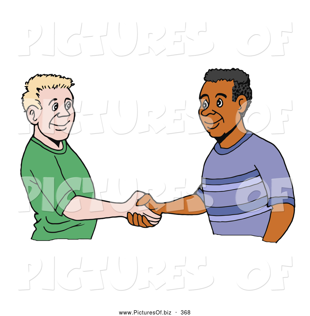 Vector Clipart of a White and Black Men Shaking Hands on.