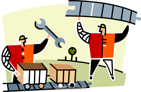 two men working on the railroad Royalty Free Vector Clip Art.