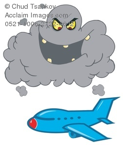 Clipart Illustration of A Blue Plane Flying By a Menacing Storm.