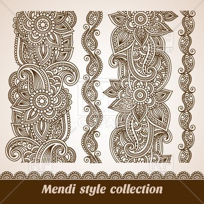 Set of mendi style floral vertical borders Vector Image.