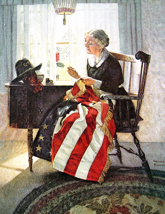 Mending the Flag Norman Rockwell Print 1985 by mysunshinevintage.