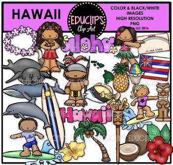 Hawaii Clip Art Bundle {Educlips Clipart}.