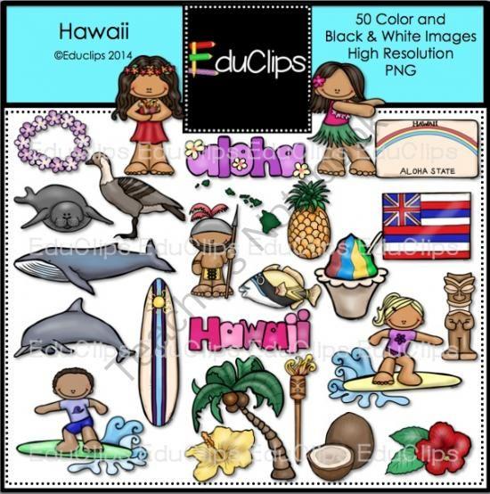 Hawaii Clip Art Bundle from Educlips on TeachersNotebook.com.