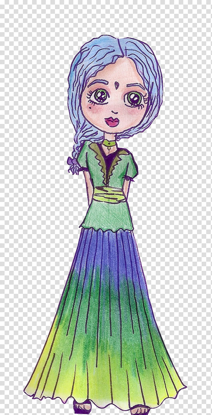 A menina do cabelo azul transparent background PNG clipart.