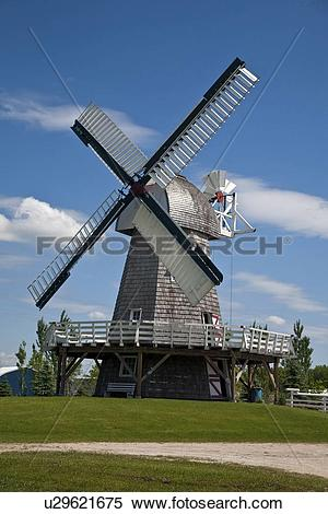 Stock Image of Windmill at Mennonite Heritage Village in Steinbach.