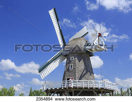 Stock Photo of Windmill In Mennonite Heritage Village; Steinbach.