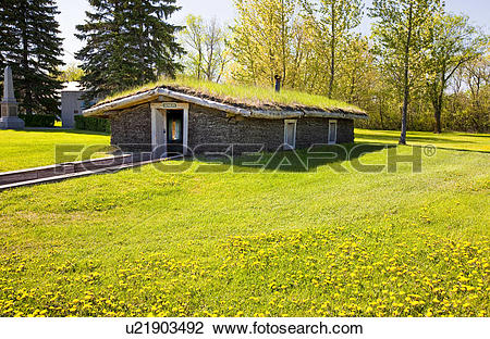 Stock Photo of Pioneer sod house, Mennonite Heritage Village.