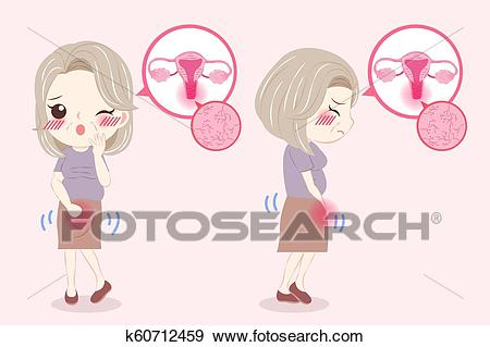 Woman with menopause problem Clip Art.