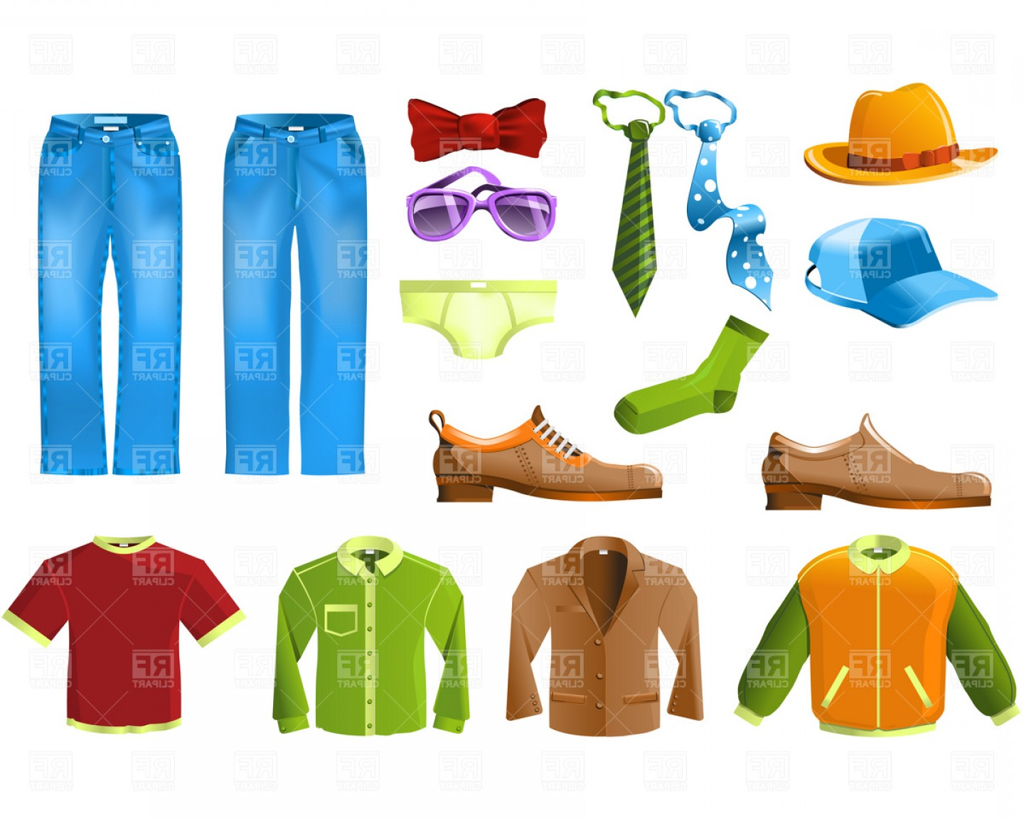 Mens Clothing And Accessories Vector Clipart.