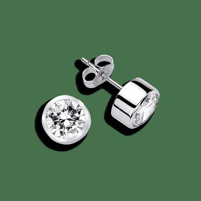 Round Bezel .50 Carat, 14K Stud Earrings.