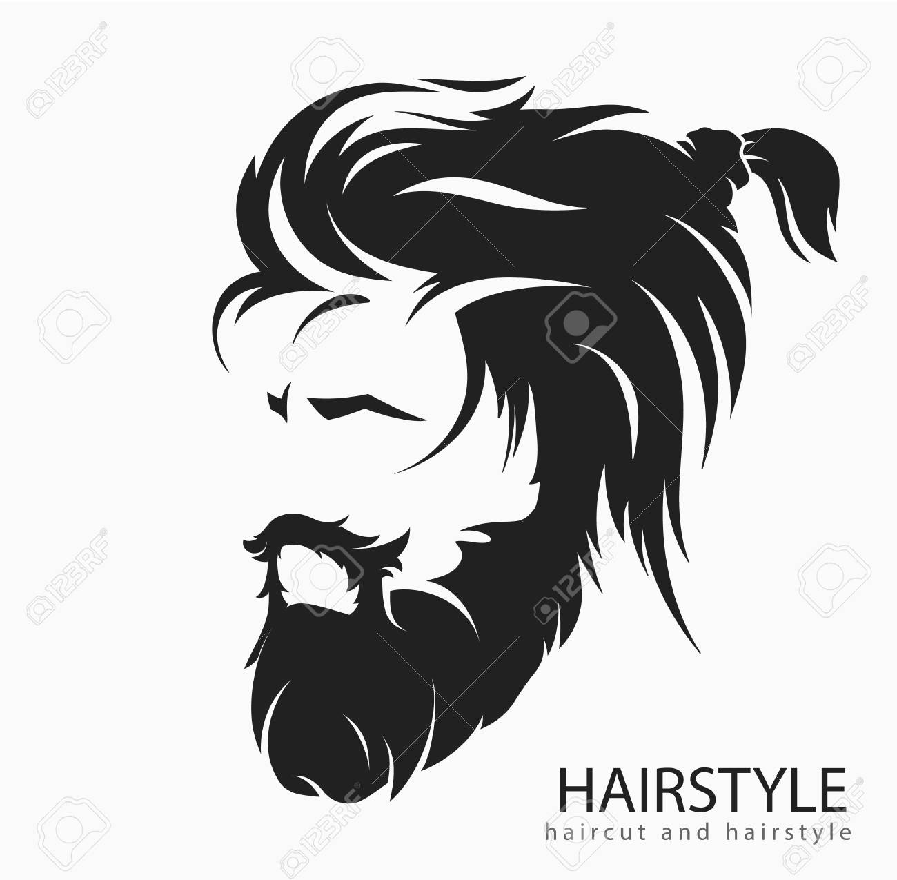 Men hairstyle and hair cut with beard mustache..