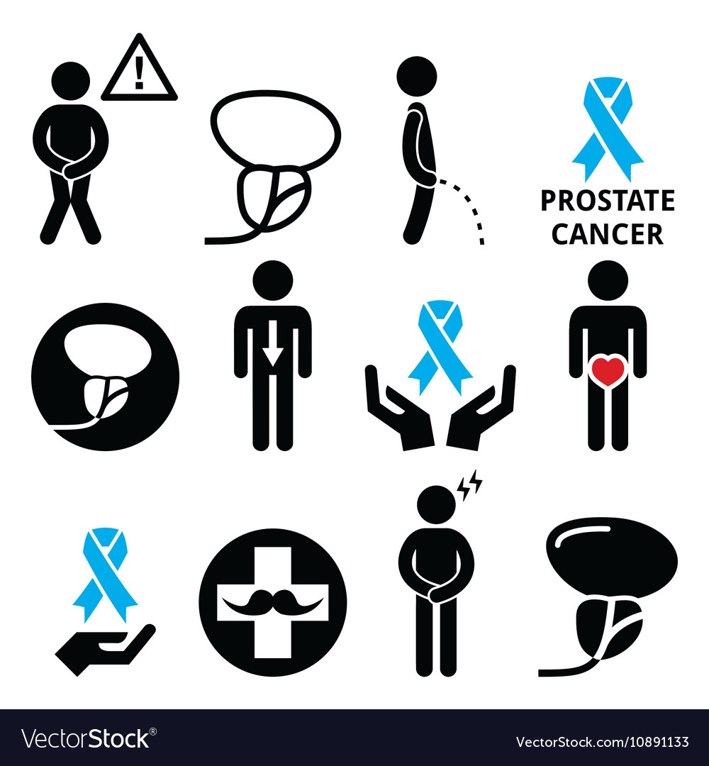 Prostate cancer awareness mens health icons set.