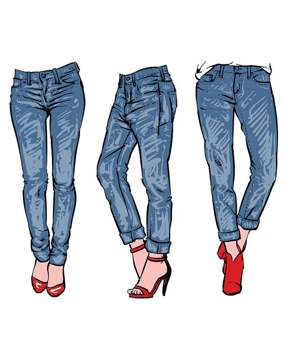 Hand drawn fashion design women\'s jeans. clipart commercial.
