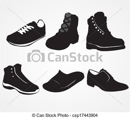 Vector Clipart of Set of icons of men's shoes on the white.