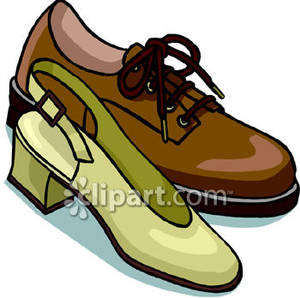 Men's Shoe and a Woman's Shoe Royalty Free Clipart Picture.