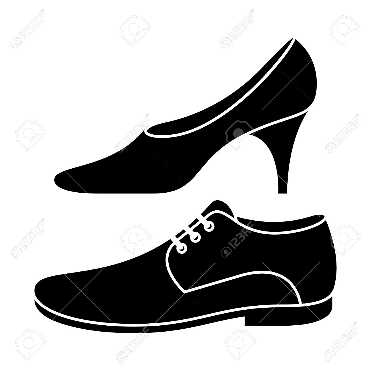 Mens shoes clipart black and white.