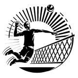 Men Volleyball Attack Stock Illustrations.