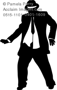 Clip Art Image of a Chubby Guy Wearing Suit Dancing.
