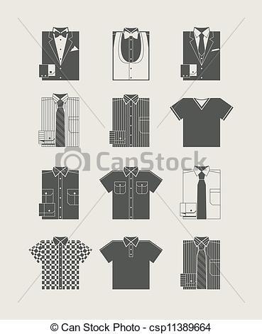 Clip Art Vector of Menswear. Icon set. Vector illustration.