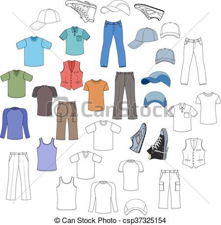 Clipart Vector of Menswear, headgear & shoes.