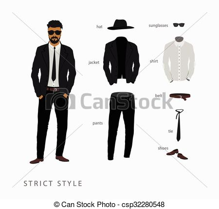 EPS Vector of set strict style of menswear. Glasses with a hat.