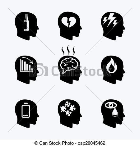 Clip Art Vector of Depression, stress concept or mental health.