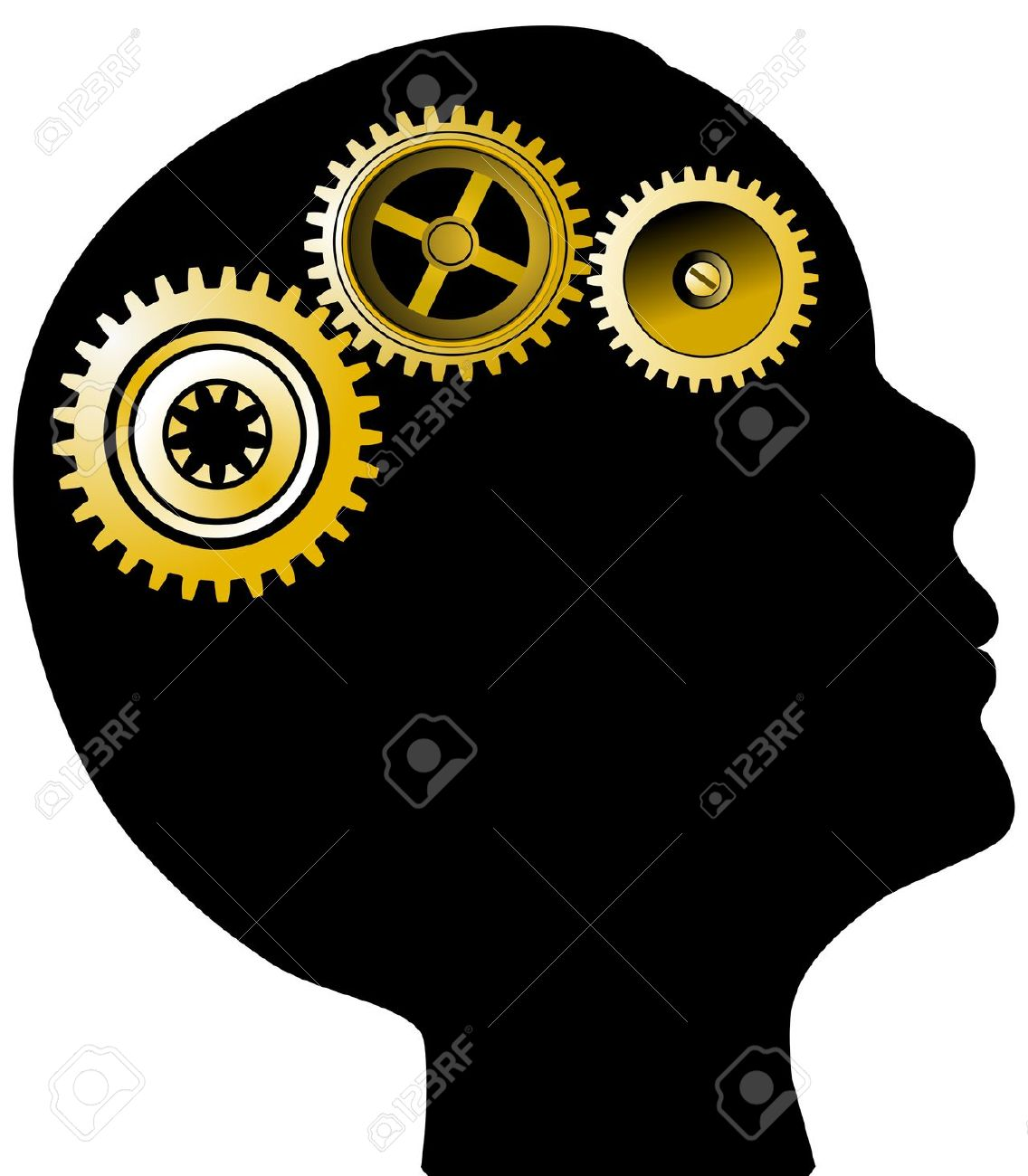 Head Silhouette And Gears Mental Health Concept Royalty Free.