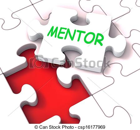 Stock Image of Mentor Puzzle Shows Advice Mentoring Mentorship And.
