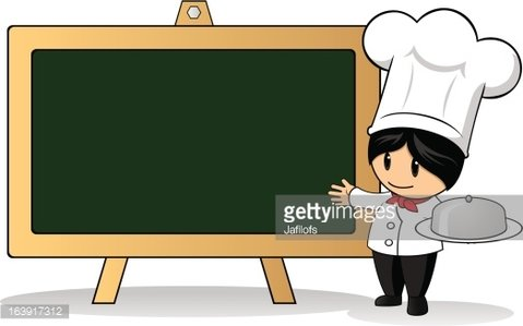 Top Chef And Menu Board Clipart Image.