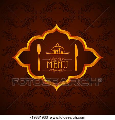 Template for menu card with cutlery Clipart.
