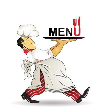 Restaurant menu design vector material chef Clipart Picture.