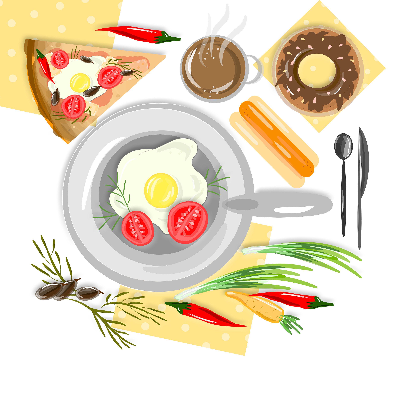 vegetables, pizza, donut, olives, egg, food, menu design.